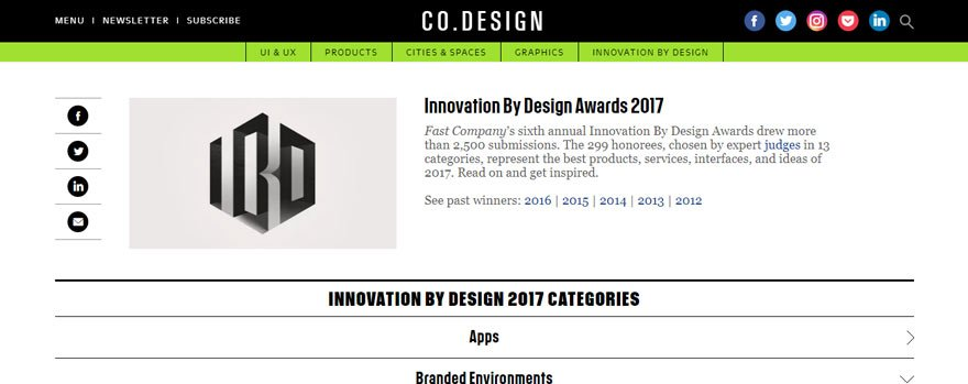 Get Inspired  Fast co's Innovation By Design Awards for 2017